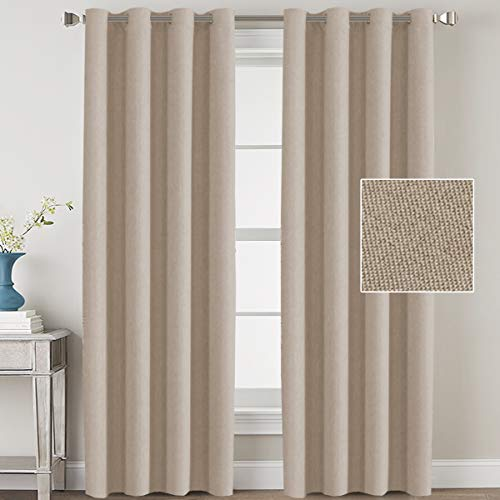 H.VERSAILTEX Linen Blackout Curtains 108 Inches Long for Bedroom/Living Room Thermal Insulated Grommet Curtain Drapes Primitive Textured Linen Burlab Effect Window Draperies 2 Panels - Light Taupe