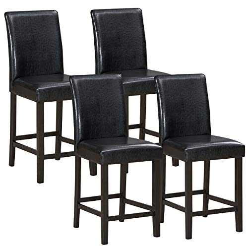 COSTWAY Barstools Set of 4, 25 inch Wooden Vintage Bar Chairs, Counter Stools w/ Upholstered Foam Cushion & Solid Rubber Wood Legs, Classical Indoor Furniture for Bistro, Kitchen and Coffee House (4)