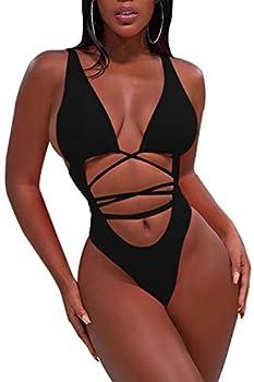 Sovoyontee Women s Sexy One Piece Swimsuits Bikini Bathing Suit Black L