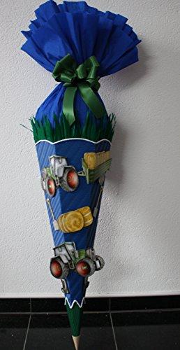 Bastelset Schultüte Zuckertüte Bauernhof Traktor mit 3-D Motiven blau