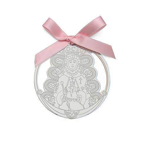 Medalla cuna carrito bebe virgen rocio 9 cm lazo rosa