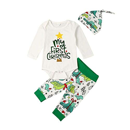 3Pcs Newborn Baby Girls Boys My 1st Christmas Romper Bodysuit Long Pants Hat Christmas Outfits Set 0-18M (0-3M, Christmas-White+Green)