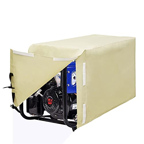 OTEW Cubierta de protección del generador al Aire Libre, 600D Oxford Paño Snow Snow Dust Olvust Hail Protection Exterior Completo, Cubierta de Motor a Prueba de Agua,Beige,81 * 61 * 61cm