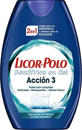 Licor del Polo - Pasta de dientes 2 en 1 Acción 3 - Protección en 3 Dimensiones: Anticaries - Blanqueador - Aliento Fresco - 1 ud de 75 ml