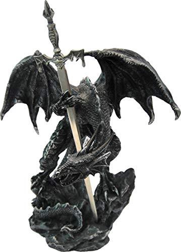 Nemesis Now Schwarzer Drache mit Schwert, Kunstharz, 22,5 cm, Einheitsgröße
