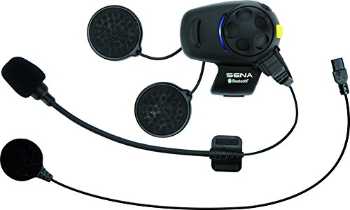 Sena SMH5-FM-UNIV Bluetooth Headset and Intercom with Built-In FM Tuner for Scooters/Motorcycles with Universal Microphone Kit , Black , Single