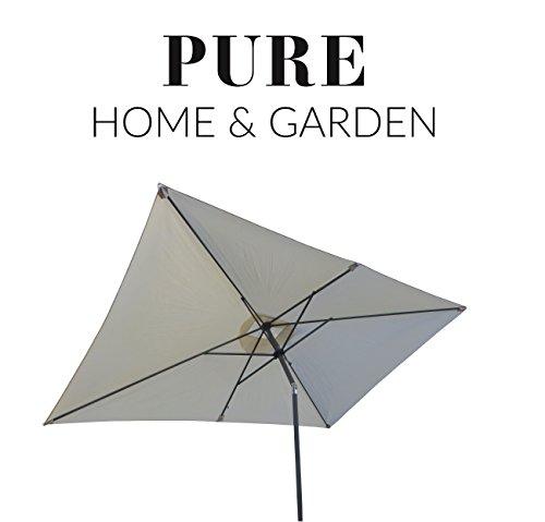 Pure Home & Garden Kurbelschirm 300x200 Natur, mit UV-Schutz 40 Plus, Knicker und abnehmbarem Bezug