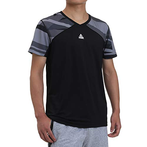 PEAK Mens Quick Dry Short Sleeve T-Shirt for Home Workouts, Fitness, Running, Basketball, Sports