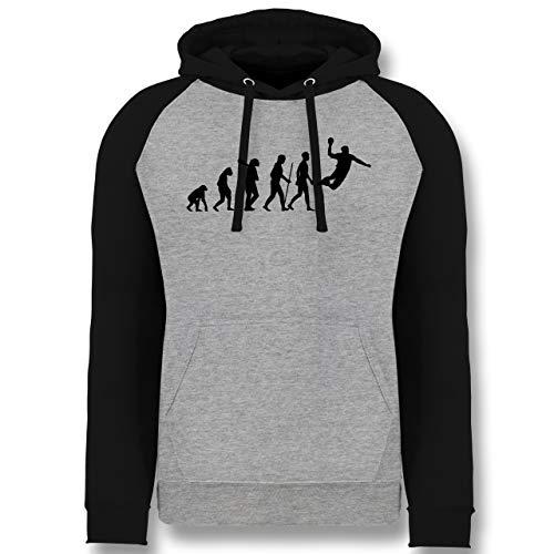 Shirtracer Evolution - Handball Evolution Herren - L - Grau meliert/Schwarz - Geschenk - JH009 - Baseball Hoodie