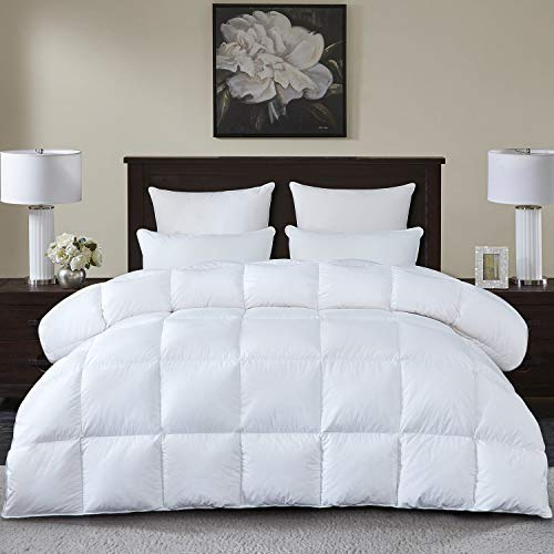 Luxurious All Season White Goose Down Comforter Duvet Insert King Size, 1000 Thread Count 100% Cotton Shell 750+ Fill Power 50 Oz Fill Weight, Hypoallergenic (White Solid, King)