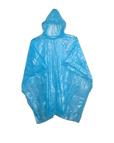 Emergency Disposable Rain Ponchos (Sold in Packs of 10 and 200) (Blue, 5 Pack)