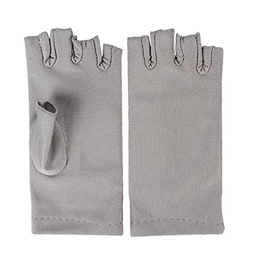 NaiCasy Nail Dryer Anti UV Protection Gloves Led Lamp Radiation UV Shield Fingerless Gloves Nail Art Dryer Tools for Salon Home 1 Pair Grey