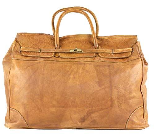 BZNA Bag Bella cognac XXL reistas vintage Italië ontwerper grote weekender weekendtas lederen tas nieuw
