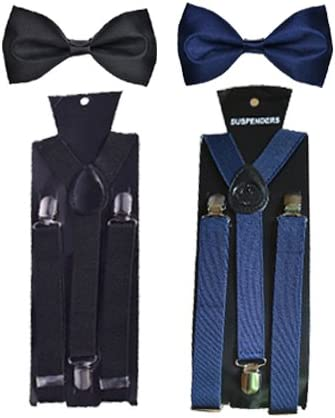 WHOLESOME DEAL unisex red and black stretchable suspender with bow combo(susbw001) product image