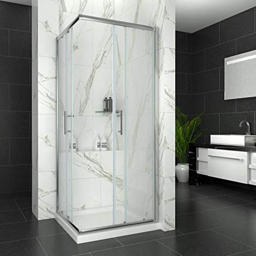 Sliding Corner Entry Shower Enclosure Door Cubicle with Stone Tray (760x760mm with Tray)