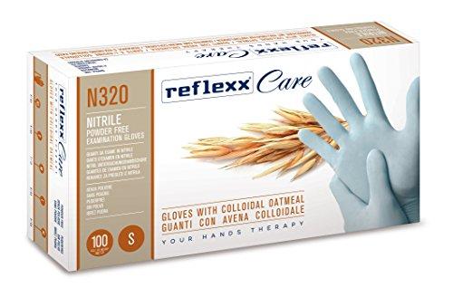 REFLEXX N320/L Nitril Einweg Handschuh W/Kolloidales Oatmeal Kunstnägel (100Stück)