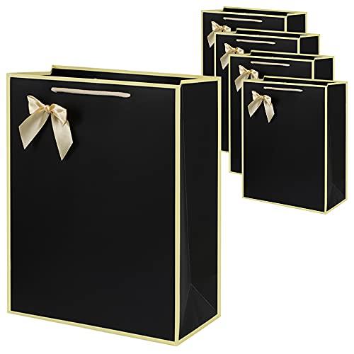 shttown ギフトバッグ 紙袋 かわいい プレゼント おしゃれ ラッピング リボン付き 誕生日 母の日 5枚セット (ブラック, M)