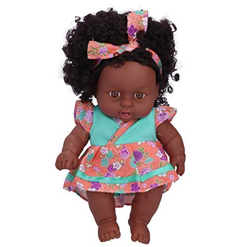 Livsliga babydockor, återfödda dockor, 7,9 tum lockigt hår Små söta vuxna för samlare för heminredning för barn(Q8-001 green orange flower skirt)