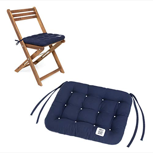 HAVE A SEAT Luxury | Sitzkissen 40 x 35 cm - bequemes Sitzpolster für Klappstühle - waschbar bis 95° C, Trockner geeignet - Made in Germany (2er Set - 40x35 cm, Marine-Blau)