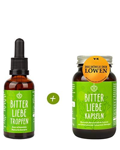 BitterLiebe® Power-Paket mit 1x Bittertropfen (50ml) und 1x Bitterstoffe Kapseln (90Stk.) I Mariendistel Löwenzahn Artischocke, Bitterkräuter, bitter