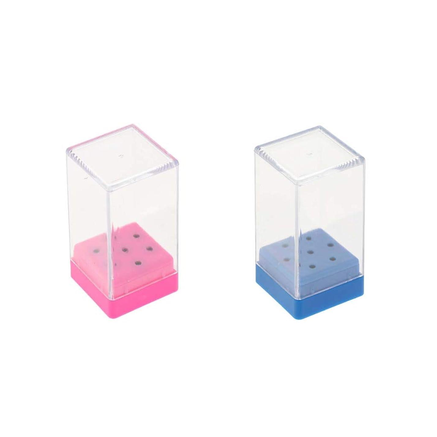 限りほとんどの場合書店Hellery ミニサイズ ネイルドリルビットホルダー 透明 プラスチックカバー付き 2ピース