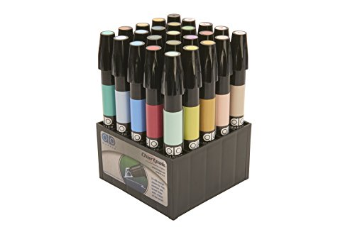 The Original Chartpak AD Markers, Tri-Nib, 25 Assorted Landscape Colors in Tabletop Cube, 1 Each (L)