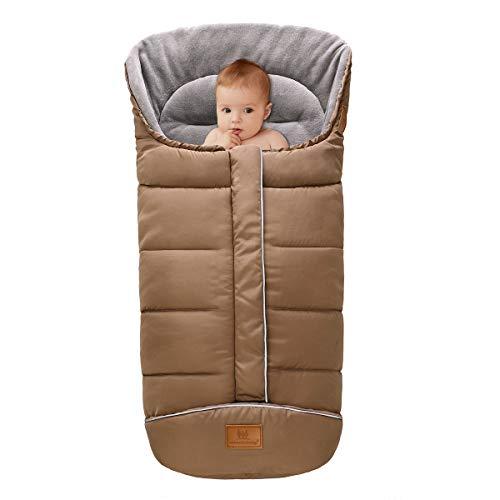 puseky Kinderwagen-Schlafsack für Neugeborene, winddicht, aus dickem Fleece, warmer Fußsack mit Wimpelkette für Kleinkinder, Kinderwagendecke