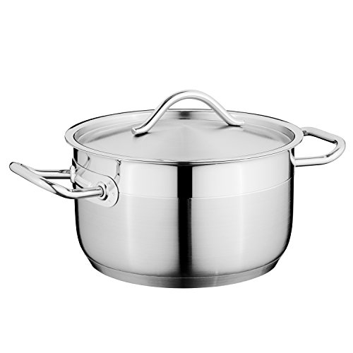 "Berghoff Hotel 7"" 18/10 Stainless Steel Covered Casserole, For All Stove-Tops - Dishwasher Safe"