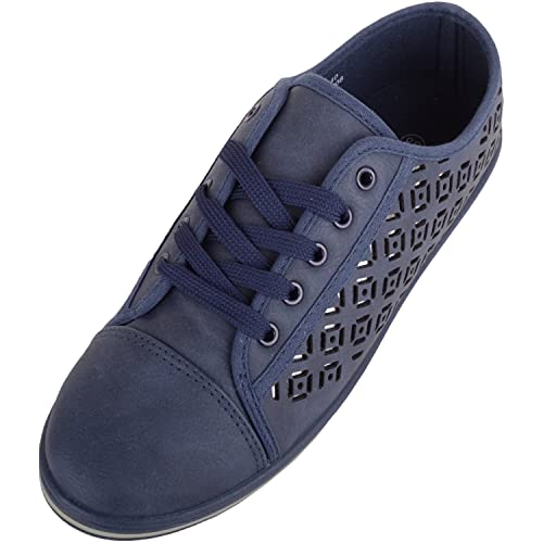 Zapatillas de deporte con cordones para mujer con patrón de efecto espejo, color Azul, talla 37 EU