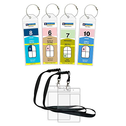 Cruise Luggage Tags Etag Holders Zip Seal & Steel Loops for Royal Caribbean & Celebrity Cruise (4 Pack + 2 ID Holders)