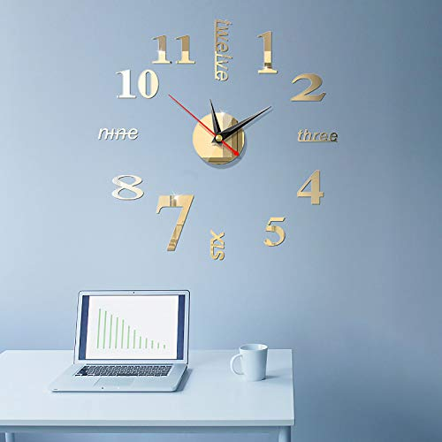 GCP 3D Sin Marco Oficina Reloj De Pared,DIY Mudo Creativo Decorativos Espejo Pegatinas Relojes De Pared Grandes NÚMEROS-Oro Ligero Diameter40cm(16inch)
