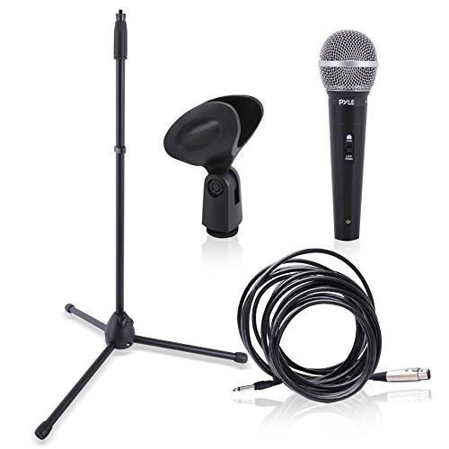 Professional Handheld Dynamic Microphone Kit - Unidirectional Vocal Wired Microphone w/Carry Bag, Metal Mic Stand, Holder/Clip & 16.4ft XLR Audio Cable to 1/4