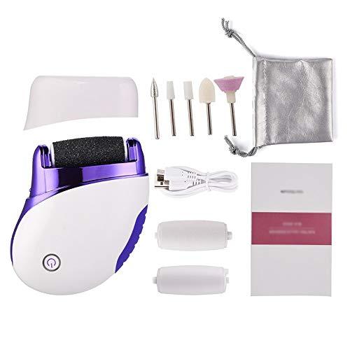 Lime à pied électrique multifonction Kit d'outils de pédicure rechargeable pour enlever la peau dure avec 3 têtes de rouleau pour peau sèche et dure fissurée