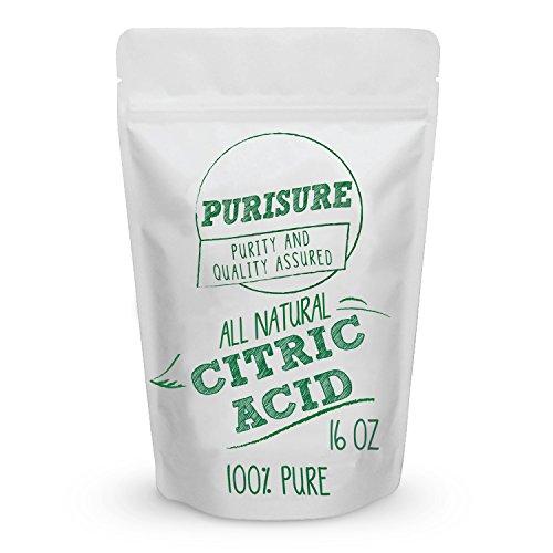 Purisure Grado Alimenticio ácido cítrico en polvo 16Oz no GMO natural y agente de limpieza eficaz conservante de alimentos realzar su Recetas naturales de belleza Limpiador y Descaler Ingrediente