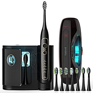 Fairywill PRO Electric Toothbrush, Ultra-Sonic Power Whitening Toothbrush with 5 Modes, Wireless Charging and Smart Timer, 8 Brush Heads with A Chargeable Travel Case