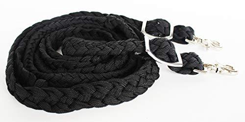 PRORIDER Challenger Western Nylon Braided Roping Knotted Barrel Reins Black 60708