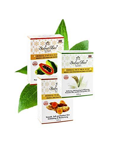 Sabai Thai Kräuter Reismilch, Kurkuma, Papaya Seife Gesetzt, Heim-Spa Seife, Natürliches Allzweck-Waschgel für Gesicht, Hände und Körper, Basische Pflegeprodukte