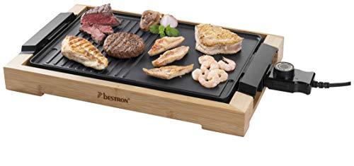 Bestron AG2000BB Teppanyaki Grillplatte mit Bambusgehäuse, Elektrischer Tischgrill mit Antihaftbeschichtung, 2.000 Watt, Schwarz, Metal