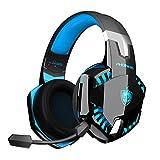 Cuffie PS4, Cuffie da Gioco Cablate Versione Aggiornata con Mic a Cancellazione di Rumore, Cuffie Xbox One a bassa latenza, Cuffie wireless Bluetooth con surround 7.1, Luce LED - Blu