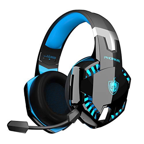 PHOINIKAS PS4 Headset, Upgraded Version G2000 Wired Gaming Kopfhörer für Xbox One, PC, Low Latency Wireless Headset mit 7.1 Bass Surround, Abnehmbarem Mikrofon, LED Licht -Blau