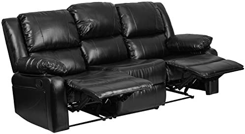 Best Flash Furniture Harmony Series Black Leather Sofa with Two Built-In Recliners