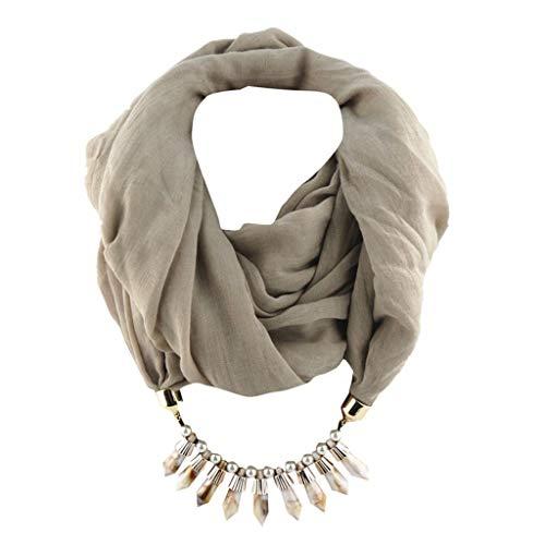 GreatestPAK Damen Loop Scraft Mode Baumwolle und Leinen Bib Anhänger Schal Solide Tassel Schals Ethnische Halskette Schmuck Acryl Turban