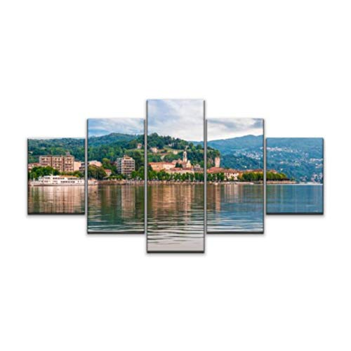 Skipvelo Lake Maggiore, Arona, Italy Tourist Town on Lake Maggiore, Piedmont Wall Art Canvas Prints Pictures Paintings Artwork Home Decor Stretched and Framed - 5 Pieces