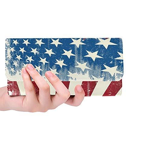 JOCHUAN Einzigartige benutzerdefinierte amerikanischen Rahmen Grunge amerikanischen Poster Frauen Trifold Brieftasche lange Geldbörse Kreditkarteninhaber Fall Handtasche