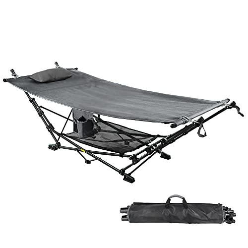 RedSwing Portable Folding Hammock with Stand, Collapsible Foldable Hammock with Stand Includes Removable Pillow, Storage Net, Side Pocket with Cup Holder for Camping Beach Patio, Gray