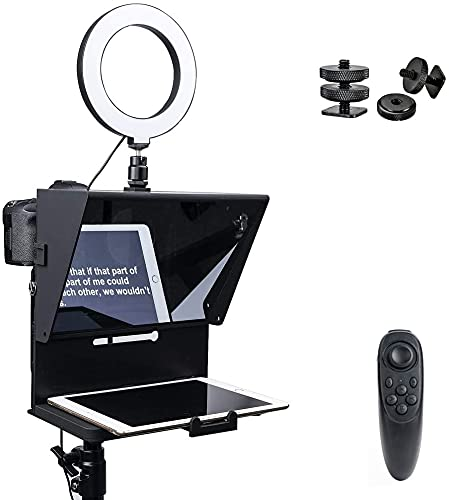 Pergear Q2 Portable Teleprompter with Remote Control & 6 inches Ring Light for Smartphone iPhone DSLR Camera Tablet Video Filming Recording Interview Presentation