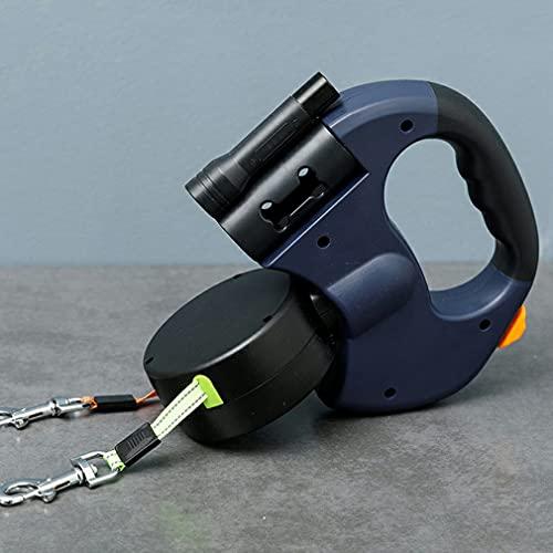 Guinzaglio a doppia corda per cani con luce - Guinzaglio retrattile automatico a doppia testa con custodia per cacca, guinzaglio durevole per cani da compagnia (blu e nero)