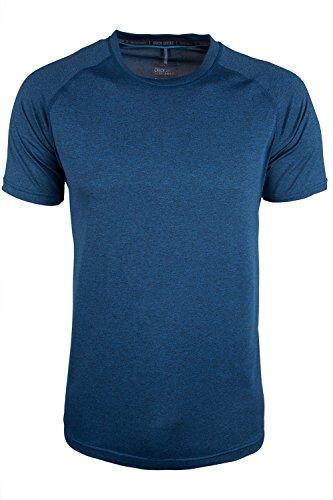 Mountain Warehouse Agra Camiseta mélange para Hombre - Ligera, cómoda, con Cuello Redondo, de Secado rápido y protección UV - para Viajar y Caminar Azul 3XL
