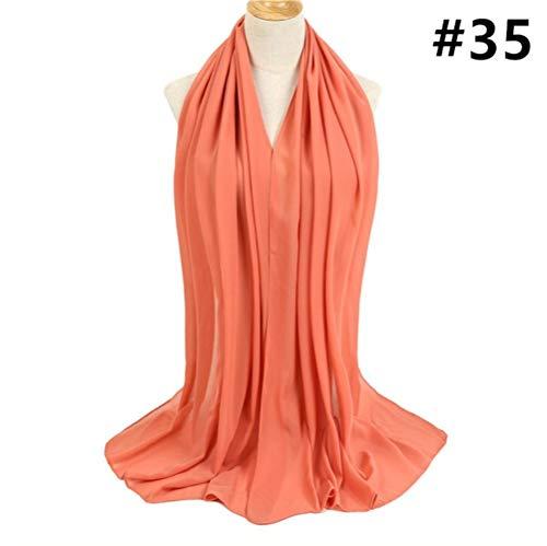 SJYM Soft Plain Bubble Chiffon Scarf Hijab Mujeres Diadema Chal Lady Wraps Solid Foulard Pashmina Scarves pañuelo en la Cabeza, h09-35
