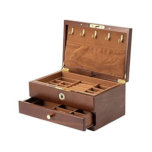 Scatola di Gioielli Impronta digitale Sblocca la scatola di immagazzinaggio della scatola di immagazzinaggio dei gioielli di legno per il braccialetto della collana dell'anello per orecchini Scatole P